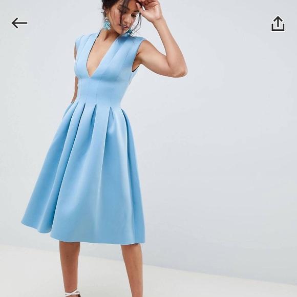 3a97f35d1 ASOS Petite Dresses | Asos Design Scuba Seamed Open Back Midi Prom ...